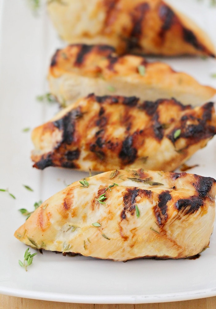 This delicious grilled maple dijon chicken is so juicy and flavorful! It has only five ingredients, and is simple and quick to make!