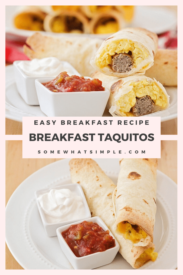 These delicious and savory baked breakfast taquitos are so delicious! They're loaded with eggs, cheese, and sausage, all wrapped in a crisp tortilla. Yum! #makeaheadbreakfast #breakfasttaquitos #breakfasttaquitosrecipe #easybreakfastrecipe #bakedbreakfasttaquitos via @somewhatsimple