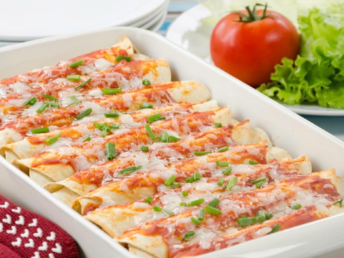 10 best enchilada recipes - a pan of red enchiladas