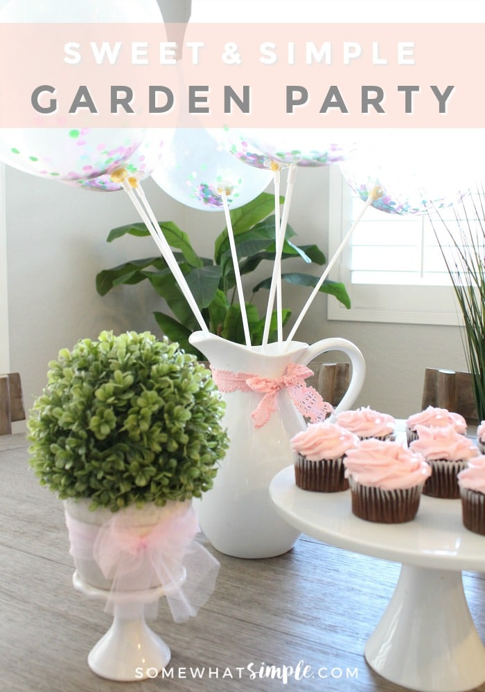 Details + free invitations for a whimsical Glittering Garden Party! via @somewhatsimple