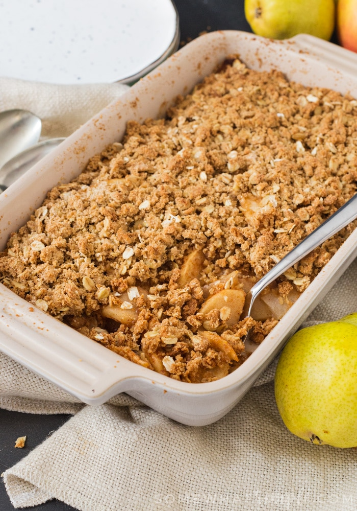 This Apple Pear Crumble is the perfect dessert for the cooler Fall nights. Crunchy, sweet and filled with crisp apples and sweet pears, it's just perfect served with ice cream or custard!