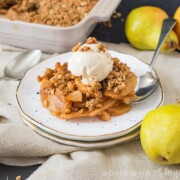 This apple crumble is the perfect dessert for the cooler Fall nights. Crunchy, sweet and filled with crisp apples and sweet pears, it's just perfect served with ice cream or custard!
