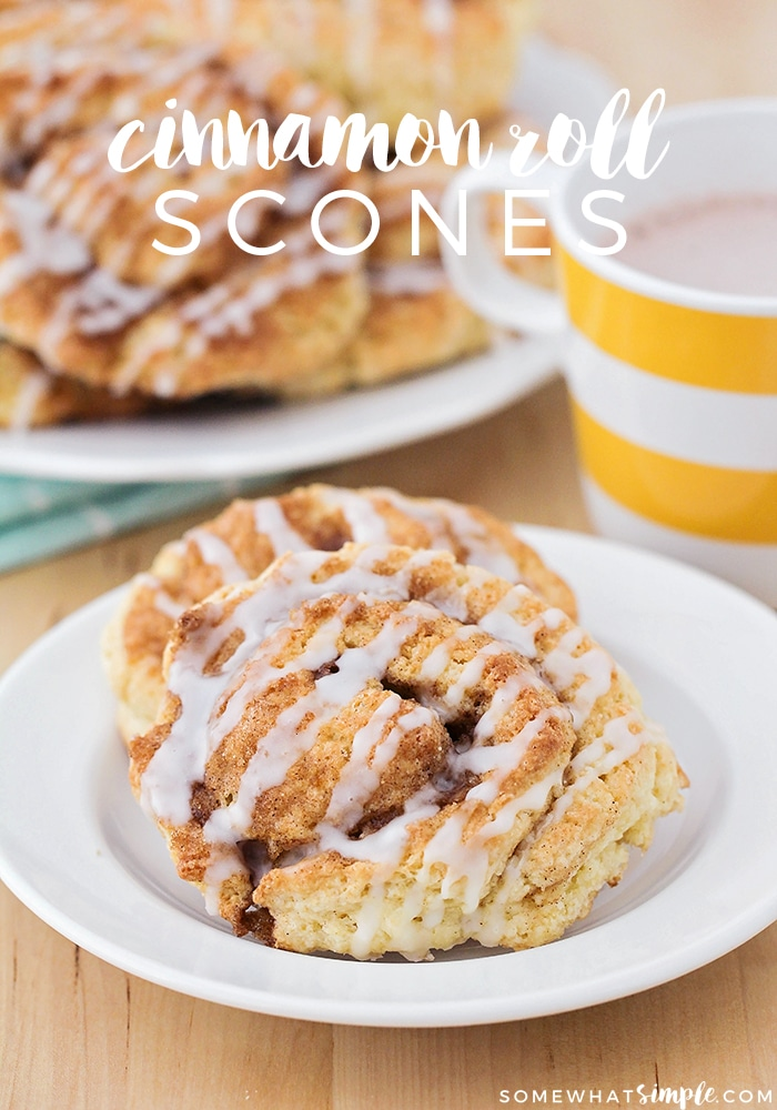 Cinnamon scones are a sweet and delicious way to start your morning. These flaky scones are made with a tasty cinnamon sugar filling and topped with a delicious icing. Not only do they taste amazing but they're super easy to make too! #scones #sconerecipe #cinnamonscones #howtomakescones #sweetbreakfastrecipe via @somewhatsimple
