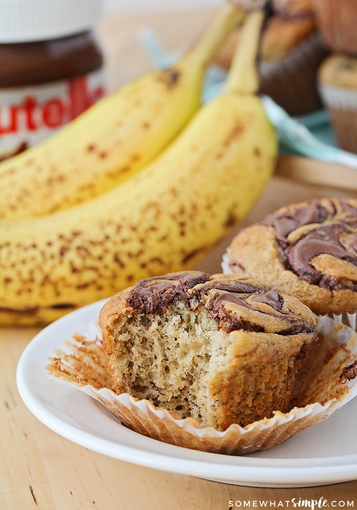 These tender and sweet nutella banana muffins are the perfect combination of two delicious flavors! They're so easy to make and so delicious too!