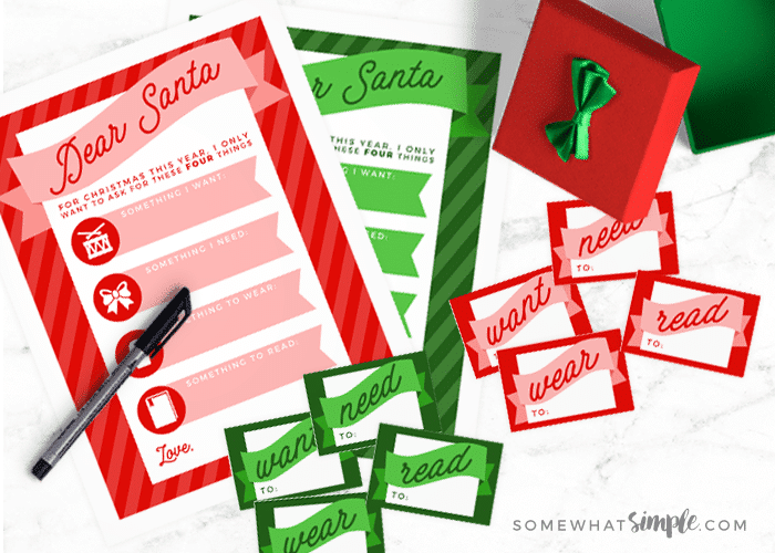 christmas wish list printables for Santa
