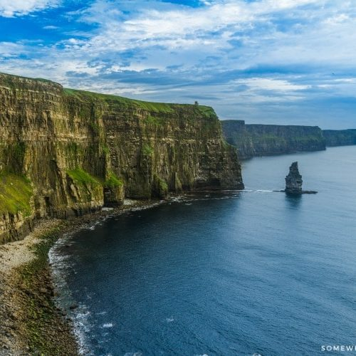 Looking down the coastline at the Cliffs of Moher in western Ireland