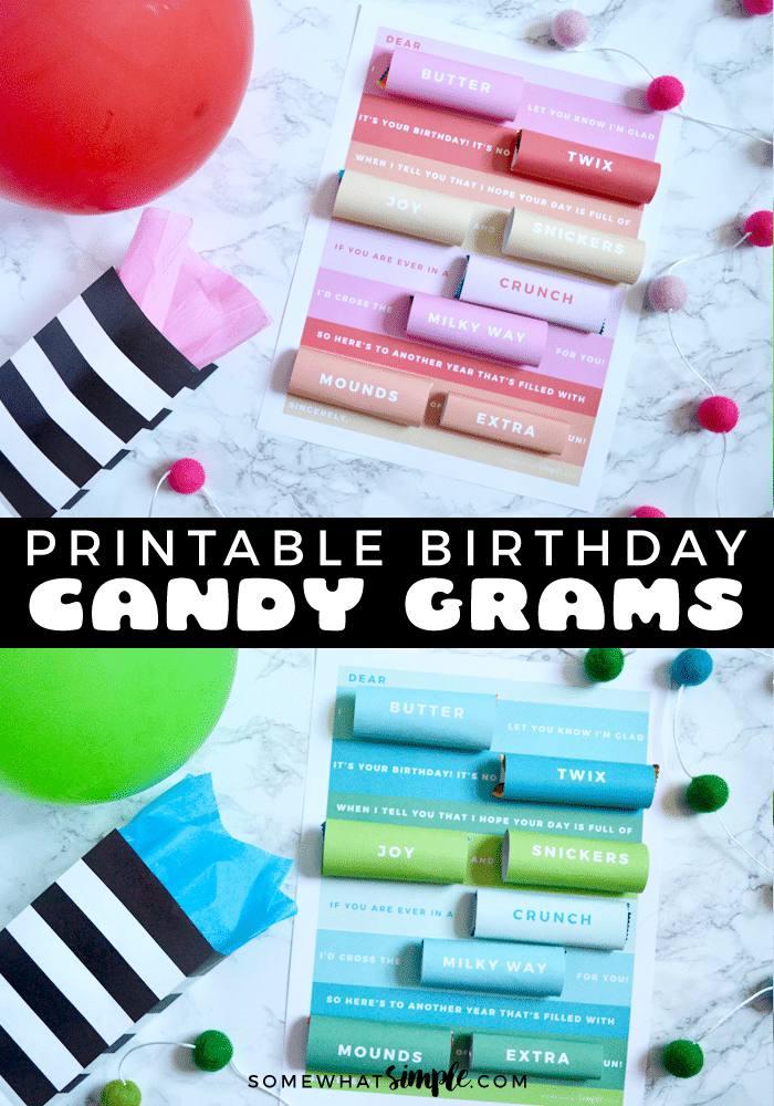 Birthday candy grams are a beloved classic, and with with these printables,  they're even simpler to make! Grab a few candy bars and these printables now!