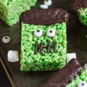 a Green Frankenstein Rice Krispies Treat For Halloween