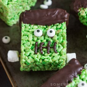 a Green Frankenstein Rice Krispies Treat For Halloween