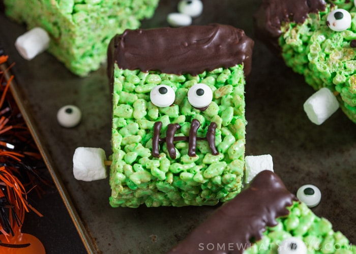 Easy Green Frankenstein Rice Krispies Treat For Halloween