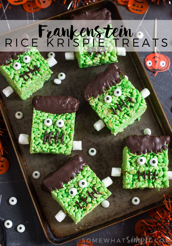 Chewy Rice Krispie Treats made into Frankenstein in a fun, kid friendly recipe just perfect for Halloween!