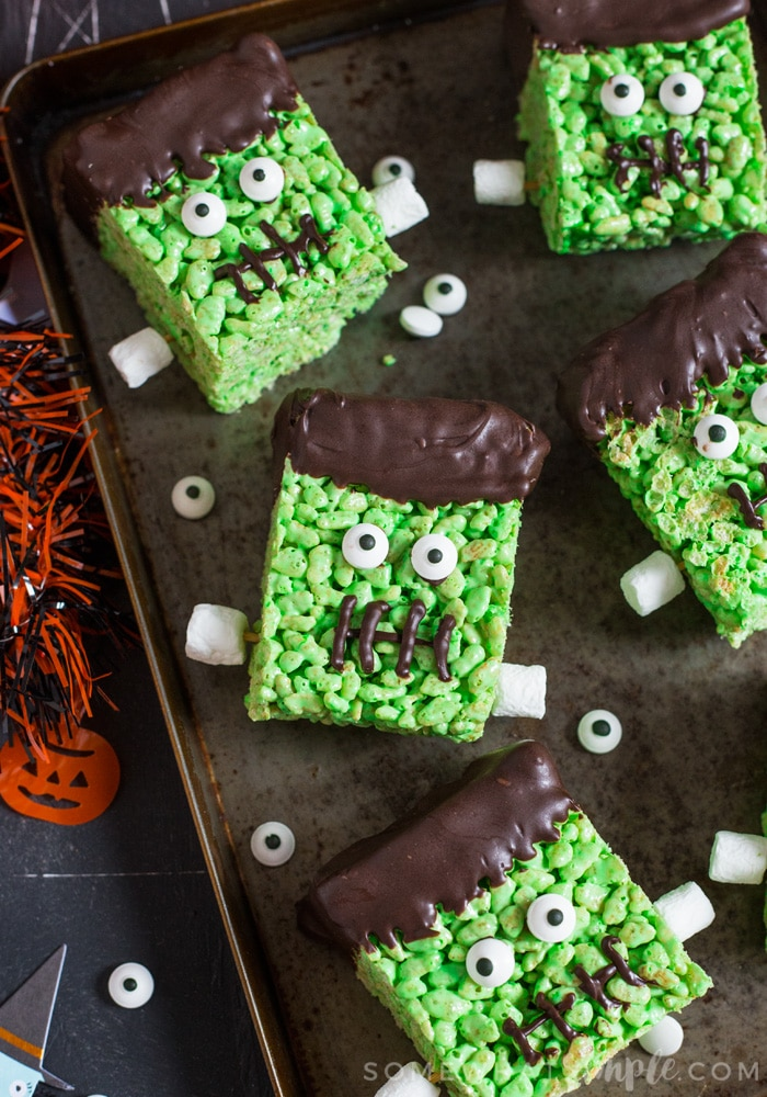 Recipe for Frankenstein Rice Krispie Halloween Treats