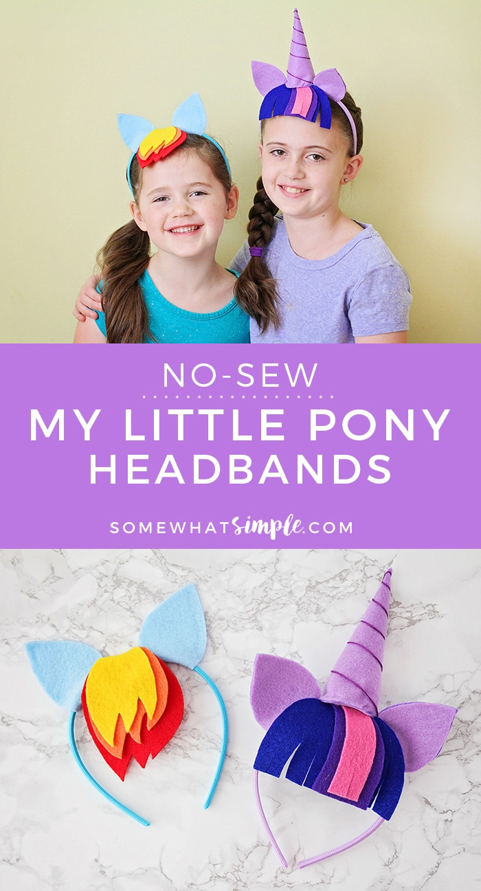 These no-sew My Little Pony headbands are so adorable and so easy to make! They're perfect for all the pony lovers in your life! via @somewhatsimple