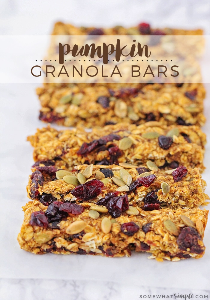 These pumpkin granola bars are so easy to make, and they taste amazing! Loaded with dried cranberries and pumpkin seeds, they are a delicious fall treat!