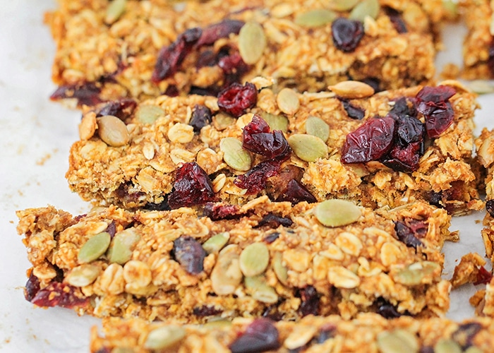 several pumpkin granola bars that have been freshly cut