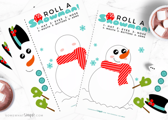 Roll A Snowman Dice Game + Printables