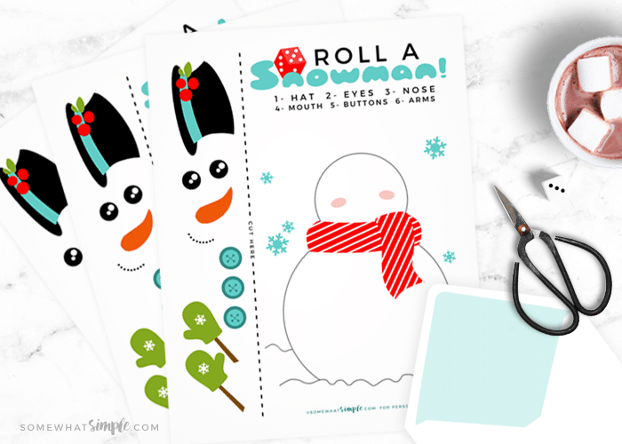 printable roll a snowman dice game for kids