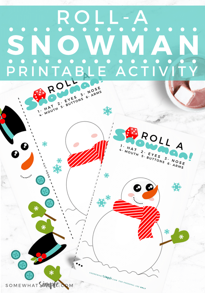roll a snowman dice game for Christmas printables