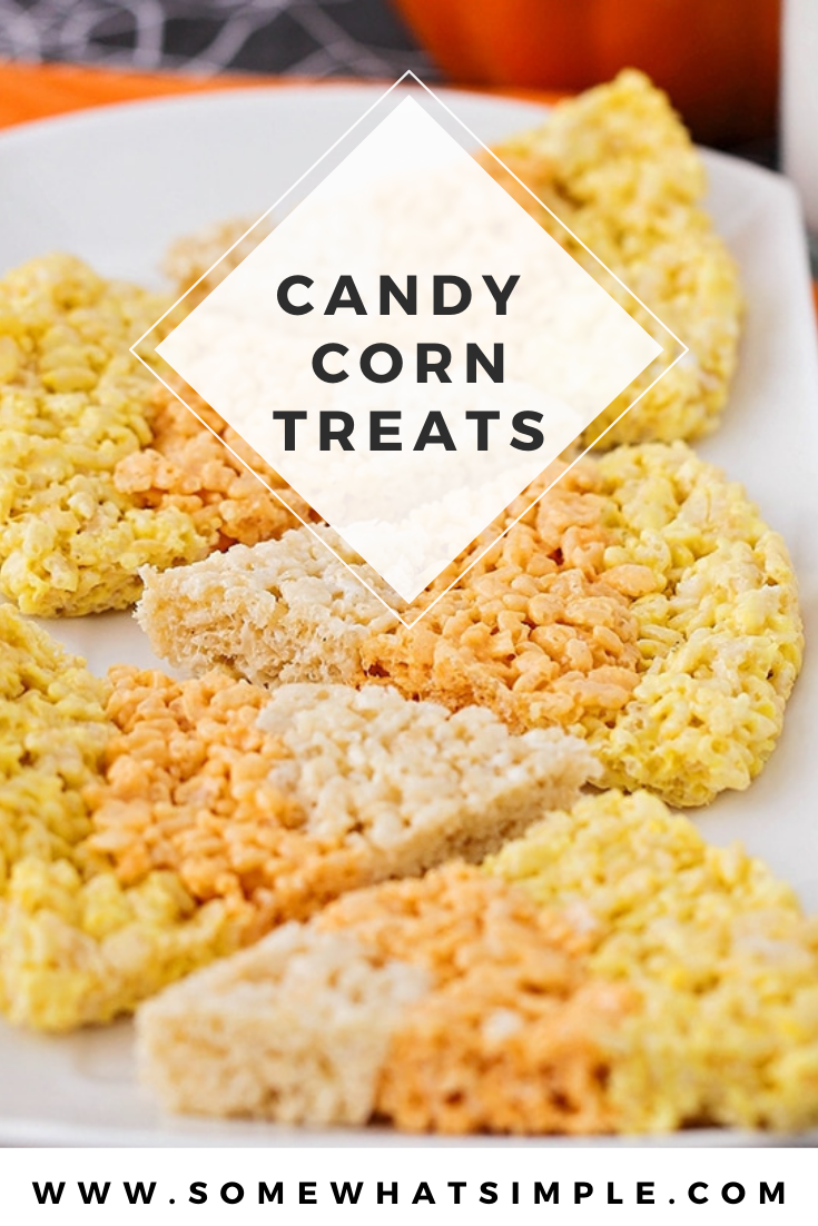 These candy corn rice krispy treats are a fun seasonal twist on a traditional treat! You can enjoy an enjoy a classic dessert recipe in the shape of everyone's favorite fall candy. These rice krispies treats are super easy, delicious and perfect for fall! via @somewhatsimple