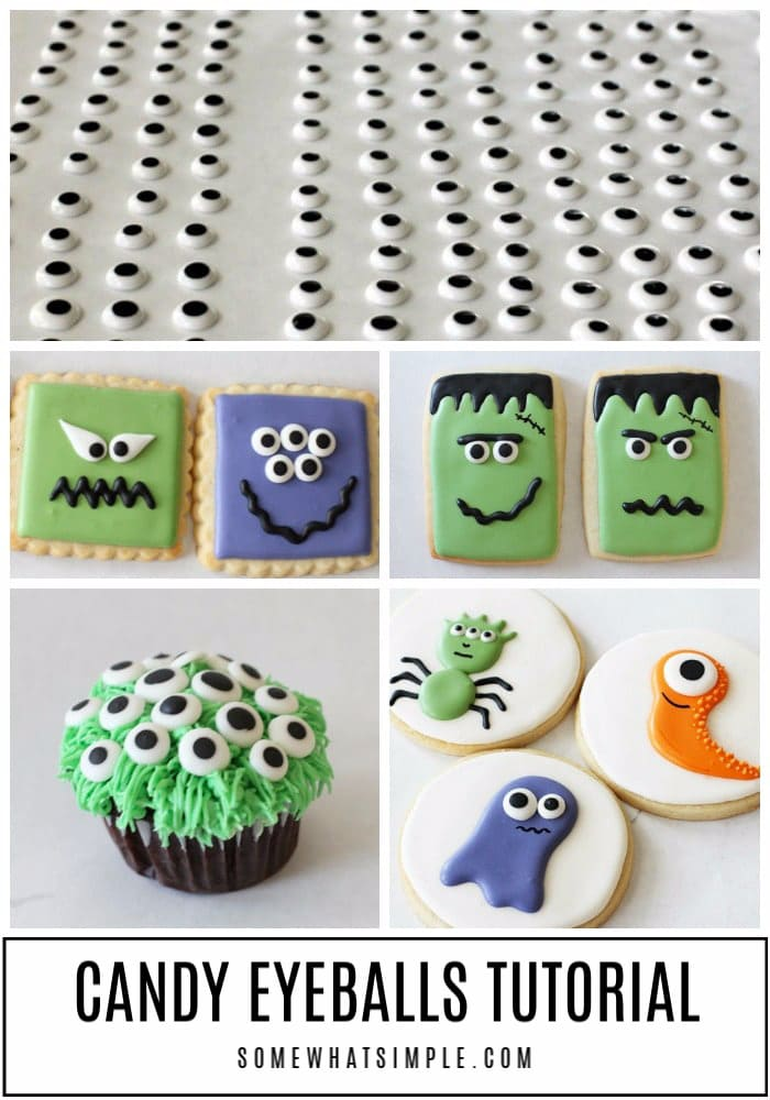 These edible candy eyeballs made from royal icing are an easy way to add monster faces on cupcakes, cookies, and frosted treats. #monstereyeballs #candymonstereyeballs #howtomakecandyeyeballs #monstereyes #candyeyesforcupcakes via @somewhatsimple