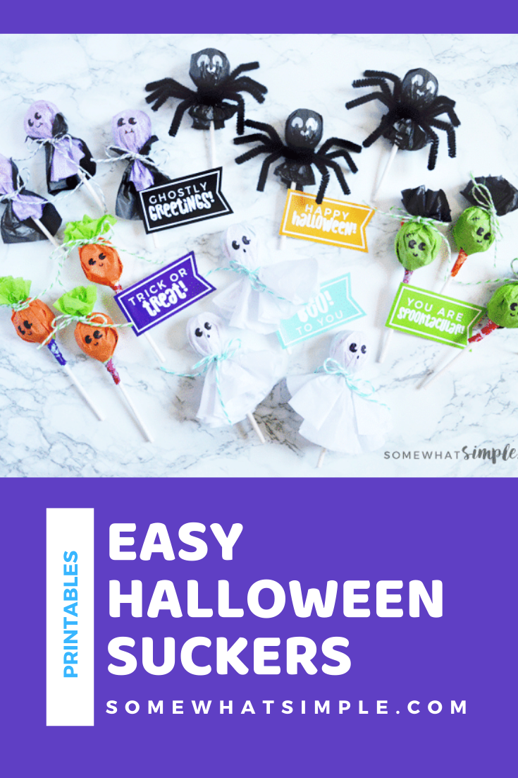 These Halloween Lollipops are about the cutest things! And SO easy to make! Dress them up to look like ghosts, vampires, jack-o-lanterns, spiders and Frankenstein with our sucker tags, and you've got a seriously darling Halloween treat! Plus they come with these adorable free printable tags so download your copy right now. via @somewhatsimple