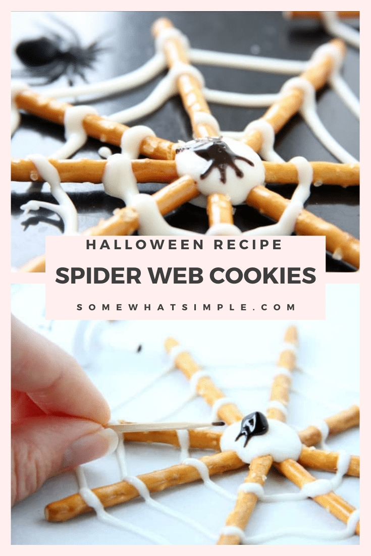 Pretzel Spider Cookies are a perfectly festive Halloween treat! Made using just 3 ingredients, they easy to put together. Just grab some pretzel sticks, melting chocolate and decorating gel and you're all set. Even the kids can help with this one, and they're always a hit! These cookies are perfect for your next Halloween party or just a fun afternoon snack. via @somewhatsimple