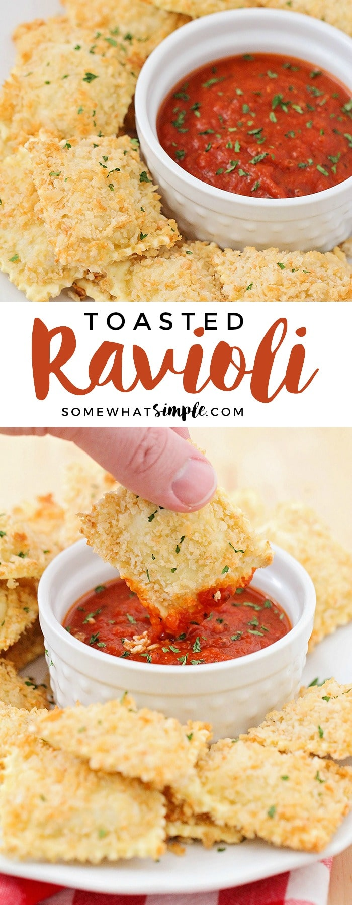 This crispy and cheesy toasted ravioli is baked instead of fried, but still just as delicious. It's a tasty snack for game day or party time! #dinner #dinnerrecipes #easydinner #easyrecipe #appetizer #partyfood