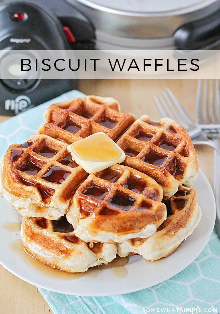 Biscuit waffles are a shortcut way to enjoy a classic breakfast. They're fast and easy to make because you don't need to whip up a batch of waffle mix first. #biscuitwaffles #makingbiscuitswithawafflemaker #wafflebiscuitrecipe #howtomakewaffleswithoutamix #easybreakfastrecipe via @somewhatsimple
