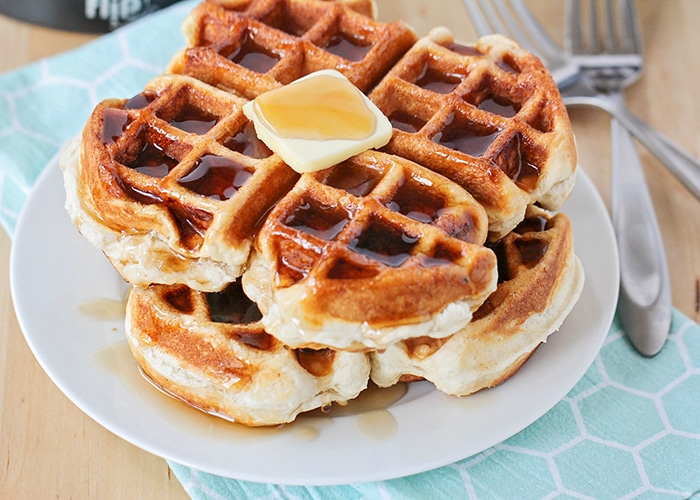 a stack of biscuit waffles