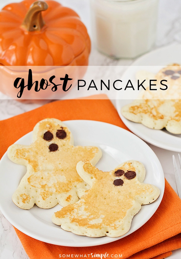 Skip the cold cereal and start your Halloween festivities off right with these darling Ghost Pancakes! Made using the best pancake recipe and then shaped into ghosts, these pancakes are the perfect fall breakfast. They're perfect to enjoy every morning or you can even serve them at your Halloween party. Either way, everyone will love them! via @somewhatsimple