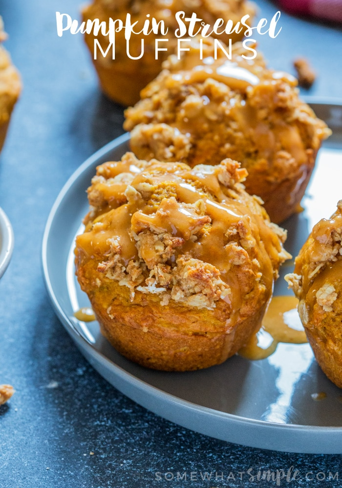 There's nothing better to wake up to than earthy, spicy, soft homemade Pumpkin Muffins with streusel topping! The perfect fall breakfast or afternoon snack! via @somewhatsimple