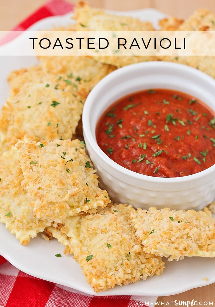 This crispy and cheesy toasted ravioli is baked instead of fried, but still just as delicious. It's a tasty snack for game day or party time!
