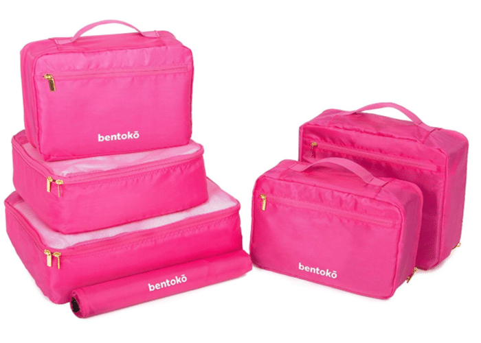 pink packing cubes make a great travel gift
