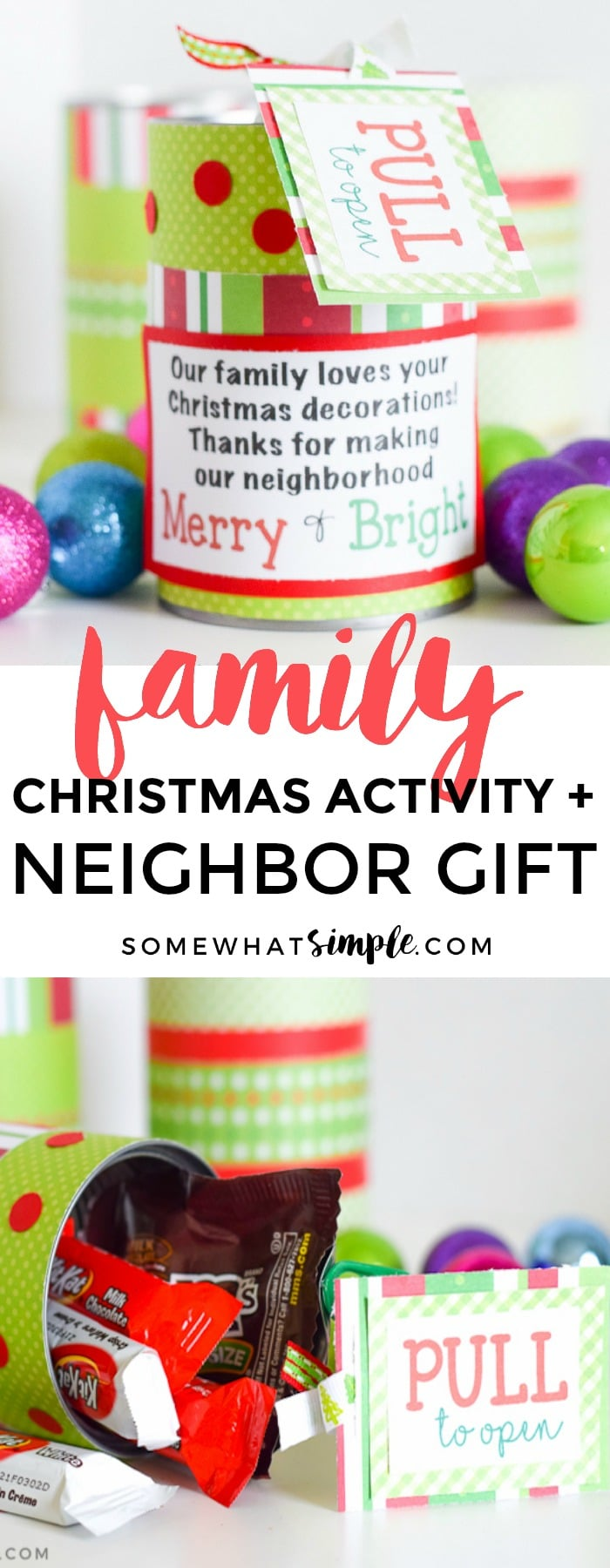Spread some holiday cheer with these Christmas Gifts for Neighbors - a fun treat in a can! via @somewhatsimple