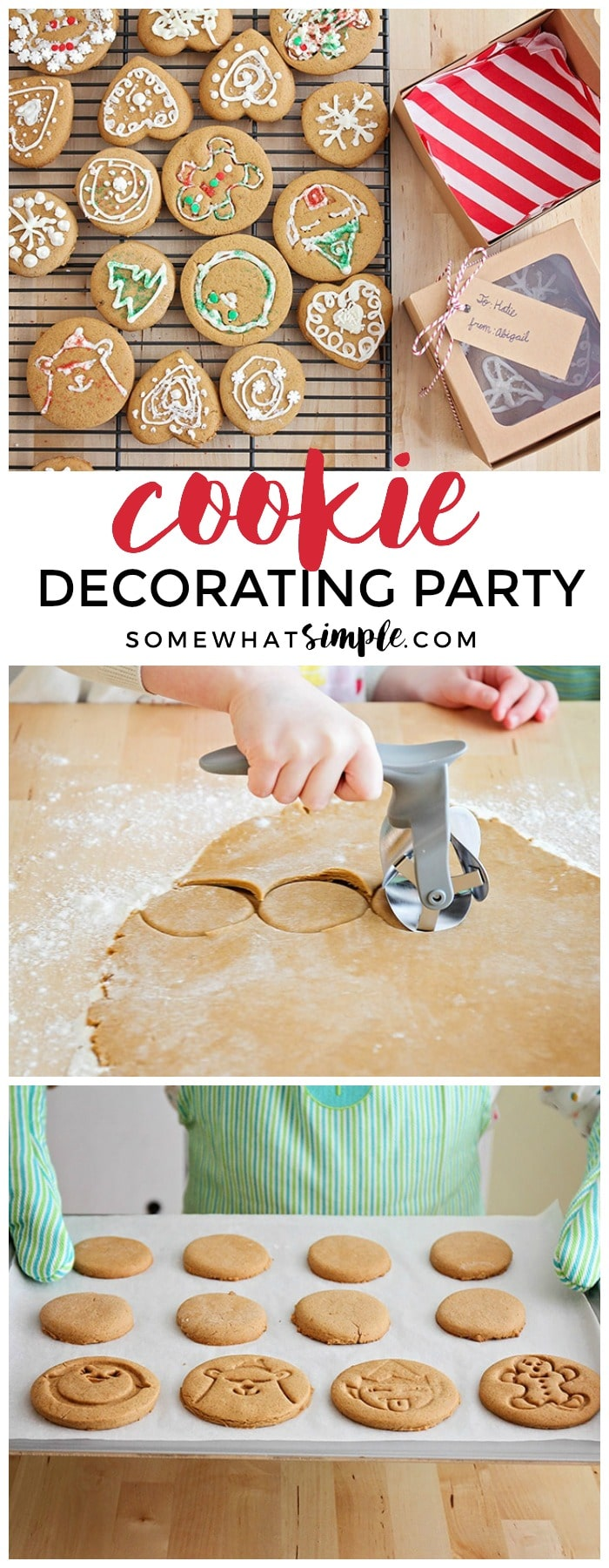 Grab the kids and get ready for a special cookie decorating party! Making cookies together has never been so fun (and easy!)#cookies #christmas #party #decorating #kids #holiday #gingerbread via @somewhatsimple