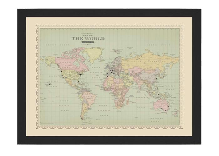 a framed world map