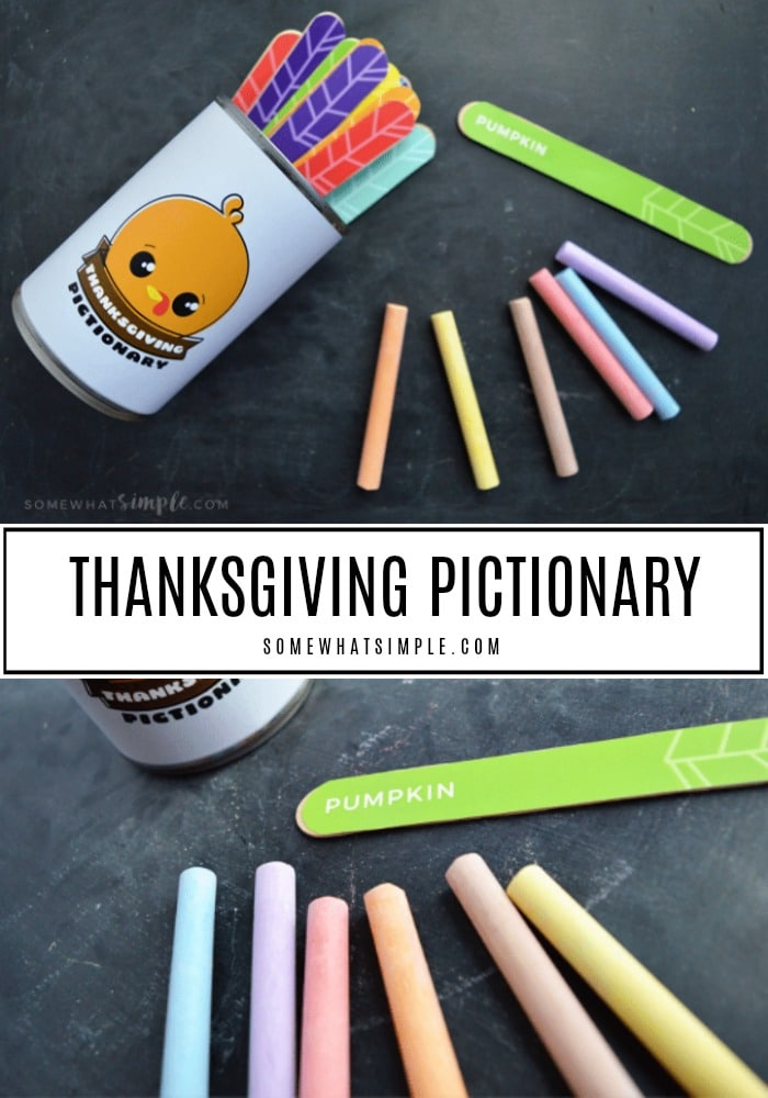 Thanksgiving Pictionary Game Made with a recycled tin can covered with a cute turkey label. Wood craft sticks are used to look like feathers with the Pictionary word on each of them.
