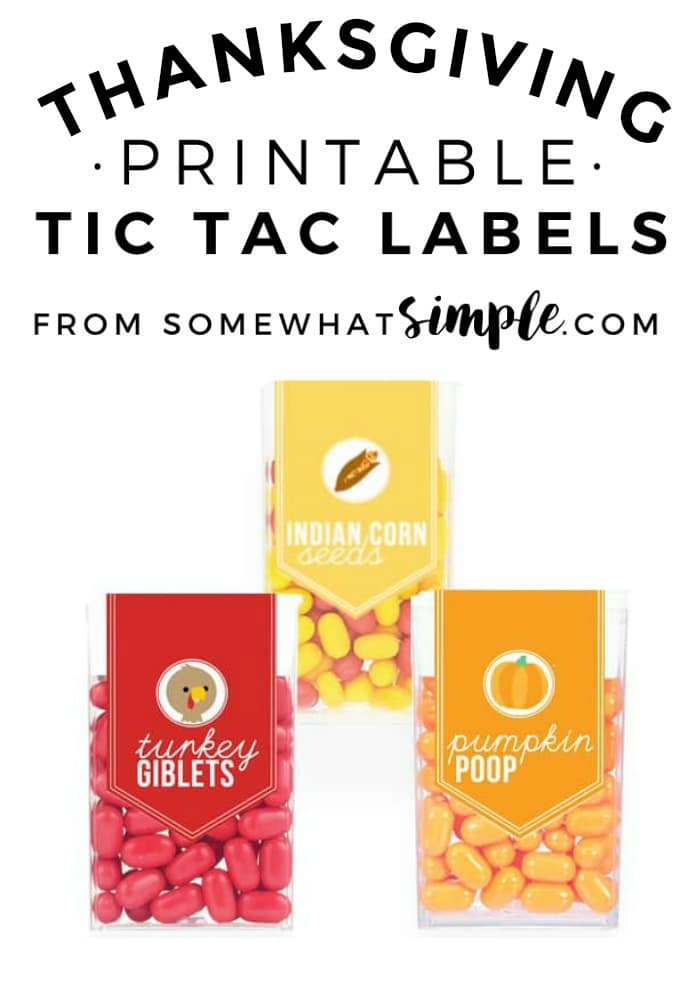 Thanksgiving Treats - Easy Tic Tac Labels
