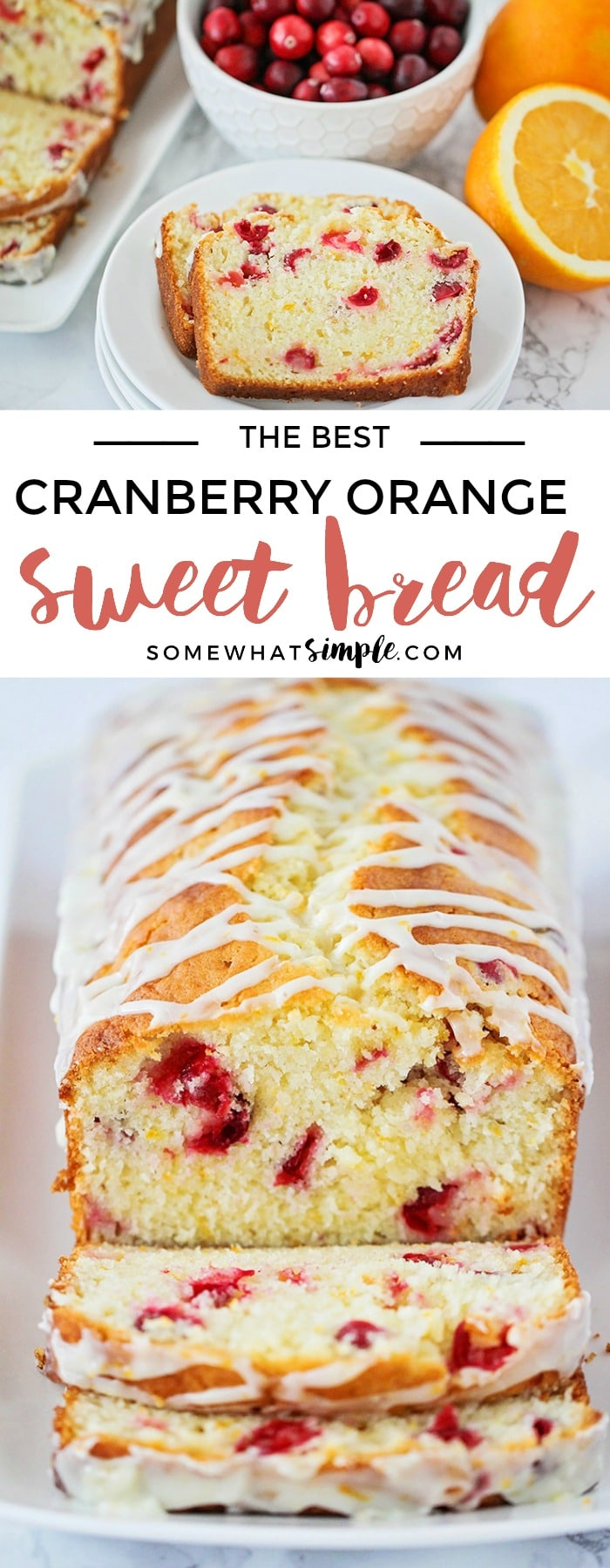 This delicious cranberry orange sweet bread recipe is so easy to make and perfect for parties or gifting! It's tender and sweet and loaded with cranberries! #bread #sweetbread #neighborsgift #yum #bread #carblover #cranberry #orange