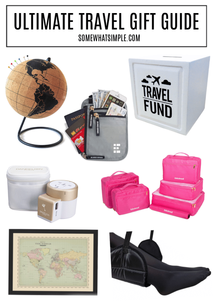 Make the next family vacation a breeze with these helpful and entertaining travel gifts! 15 ideas that family members of all ages will enjoy!  #travelgiftguide #besttravelgifts #travelgiftsformen #travelgiftsforwomen #travelgiftideas via @somewhatsimple