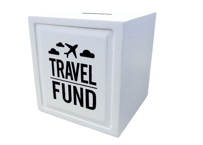 a travel fund piggy bank