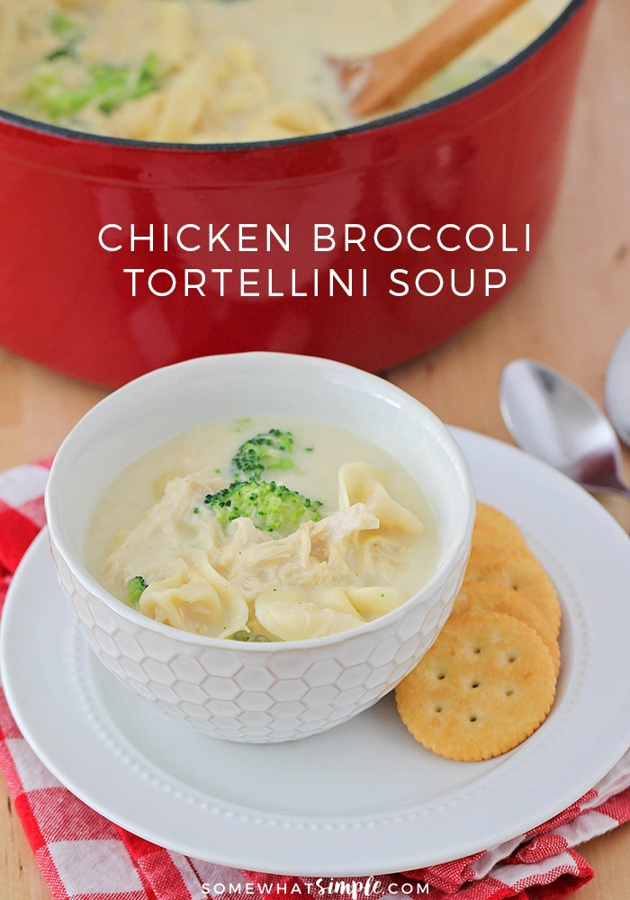 This chicken broccoli tortellini soup is a delicious and healthy meal that's ready in under thirty minutes. It's the perfect cozy dinner for a winter night!