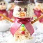 snowmen rice krispy treats