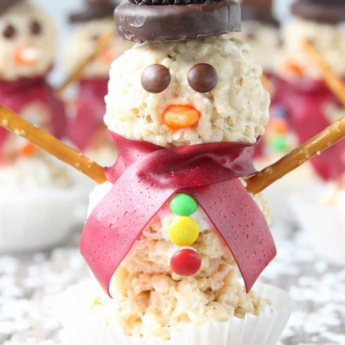 snowmen rice krispy treats