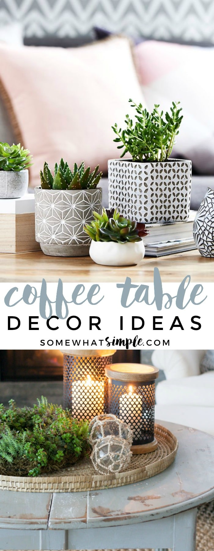 Ditch the junk mail, remotes and piles of magazines and get ready for a complete coffee table makeover! Here are 5 coffee table decor ideas that will set a beautiful stage for your entire living room! via @somewhatsimple