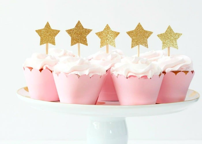 NYE Cupcakes with Gold Star Toppers