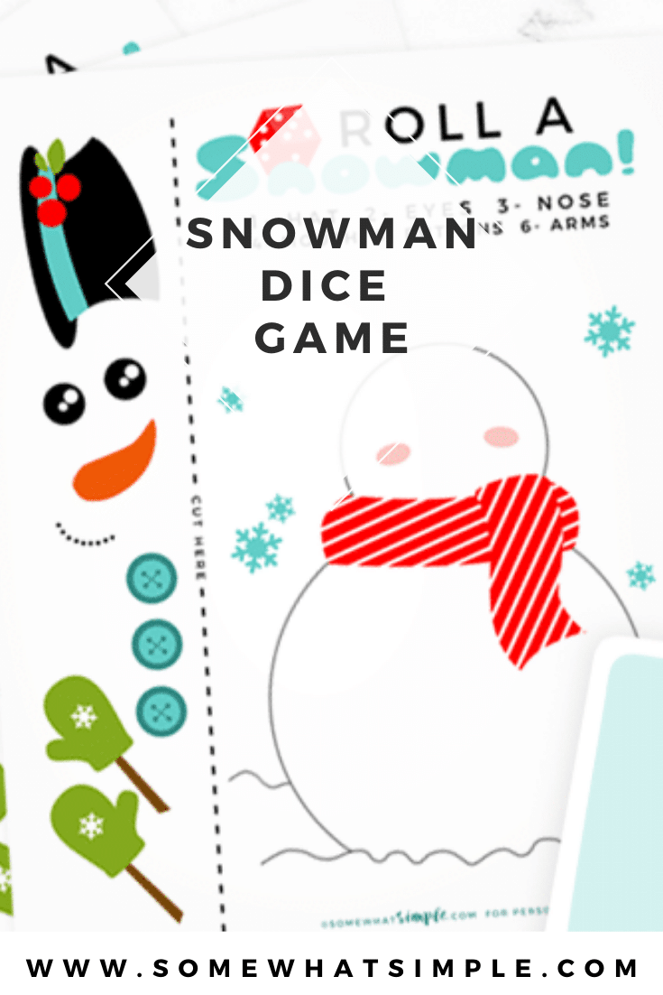 This roll a snowman dice game is the perfect game to play during the holidays. This printable Christmas game is perfect for players of all ages! It's really simple to make and even easier to play. Download your game pieces today and start having fun! via @somewhatsimple