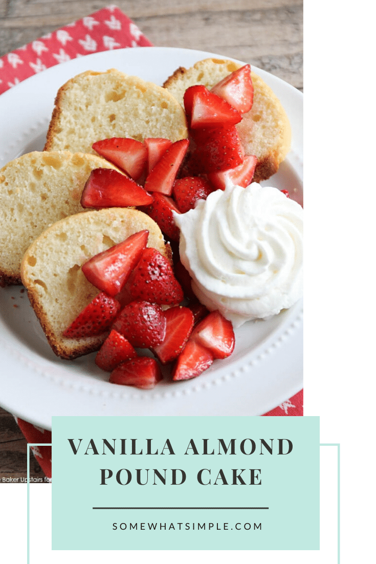 This recipe for vanilla almond pound cake is simple and easy to make. You only need to use basic ingredients typically found in your pantry. The delicious combo of vanilla and almond tastes fantastic and you can enjoy for dessert or breakfast! #easydessert #dessertrecipes #easyrecipe #cake #poundcake #vanillapoundcake #vanillaalmondpoundcake #almondpoundcake via @somewhatsimple