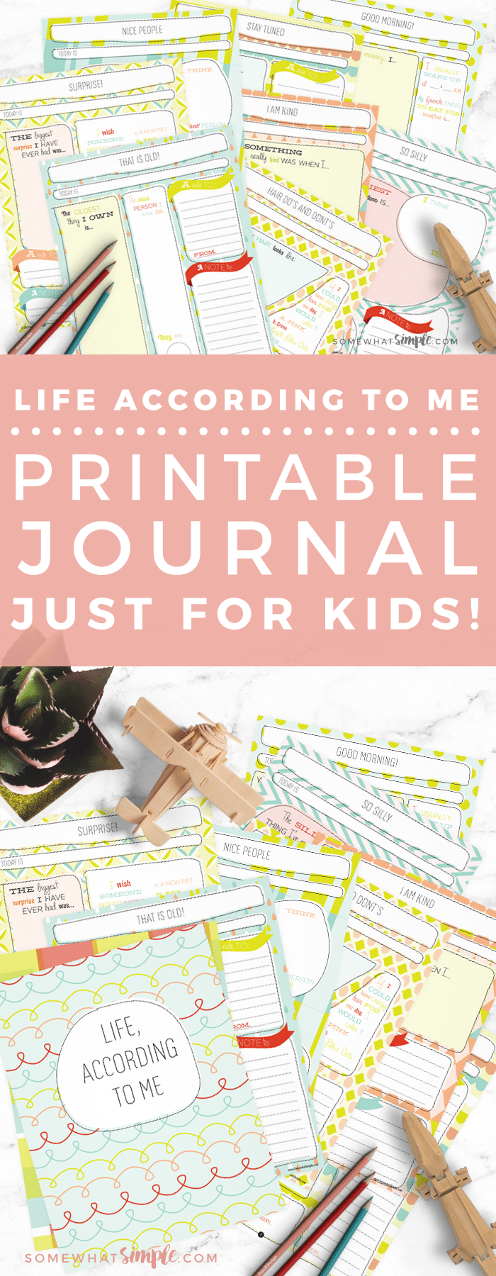 A darling journal for kids with daily prompts, fun fill-in-the-blanks, and spaces for them to draw and doodle! via @somewhatsimple