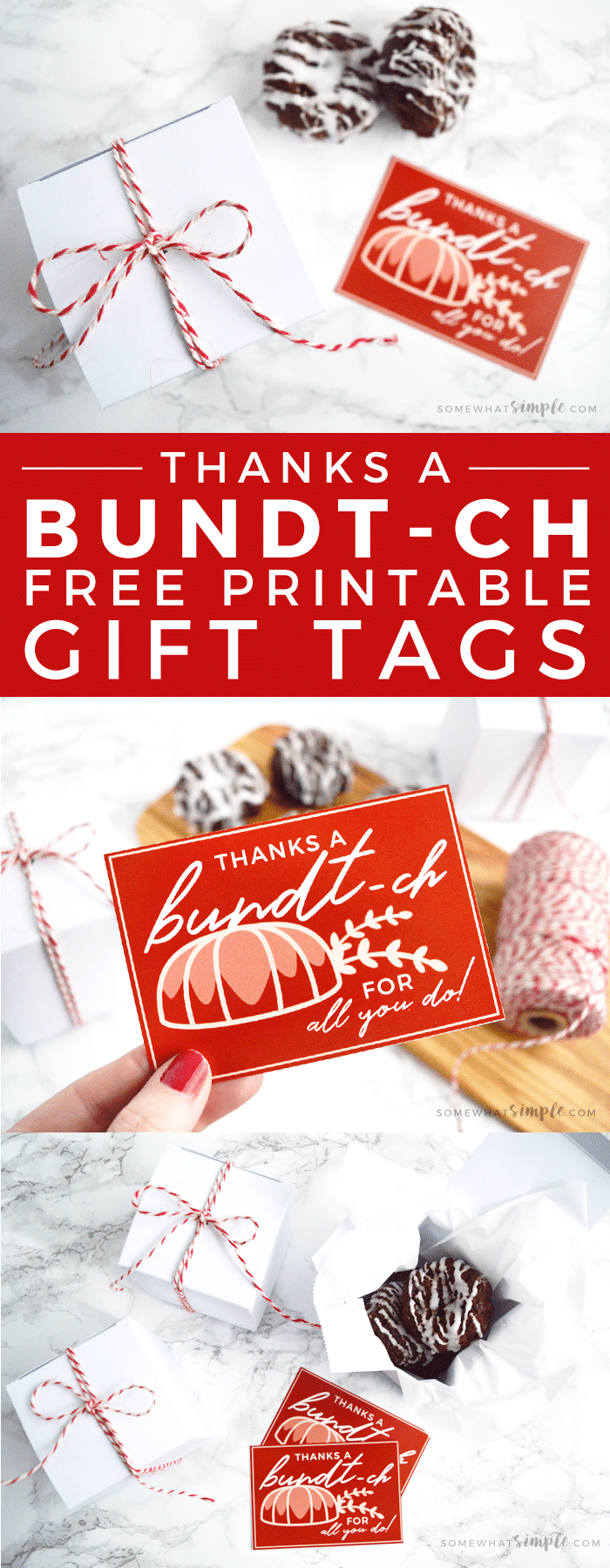 Our bundt cake thank you printables make fun gifts and are a SWEET way to say,